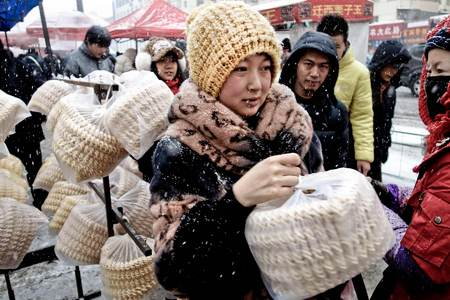 Outdoor market shopping. Harbin, China 2012